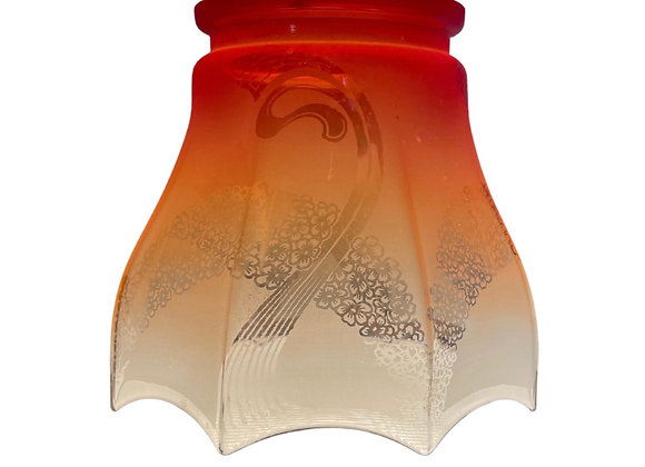 RED TINTED GLASS LAMPSHADE WITH FLOWER DESIGN
