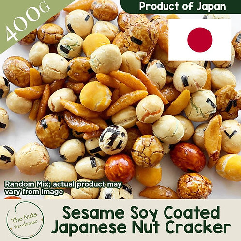 Nutritious Sesame Coated Soya Japanese Nuts Cracker 400g
