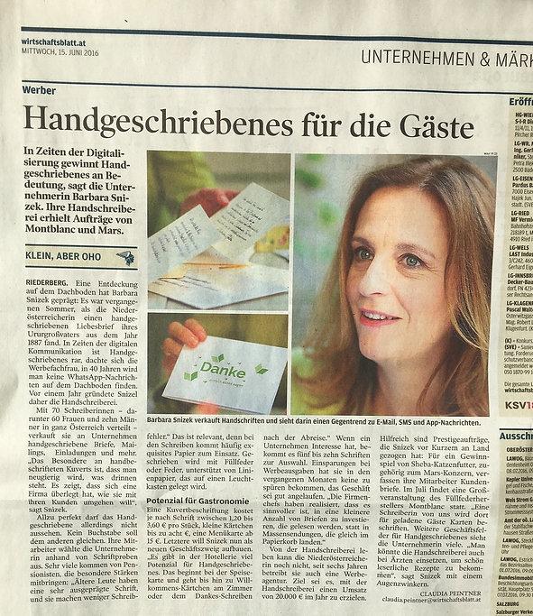 Die Handschreiberei im Wirtschaftsblatt