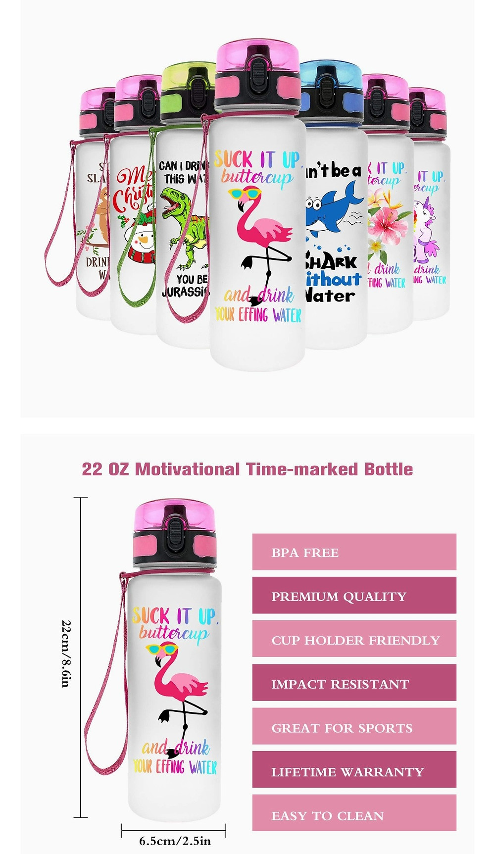 This image shows a selection of water bottles with a flamingo, a dinosaur, a shark and other child friendly designs with wording that says ' Suck it up buttercup, and drink your effing water'