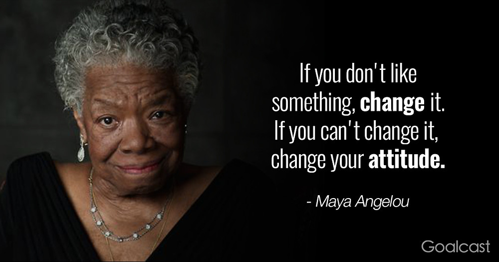 Maya Angelou the poet is pictured as an older woman, with grey hair , earrings and necklace, next to a quote from one of her poems