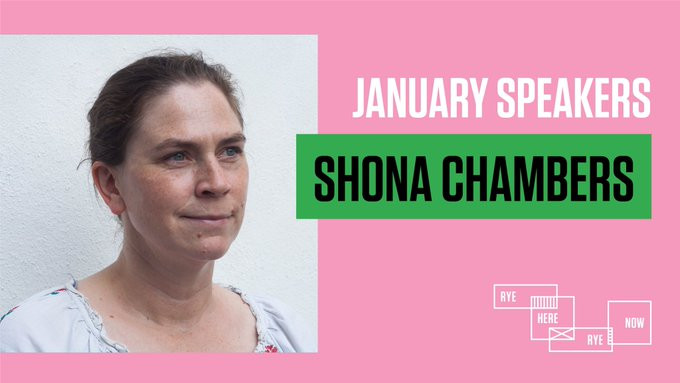 A white woman with hair tied back looks at the camera, where the words January speakers Shona Chambers appears besides