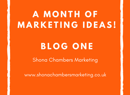 Week One: A month's worth of marketing ideas. Focusing on Social Media