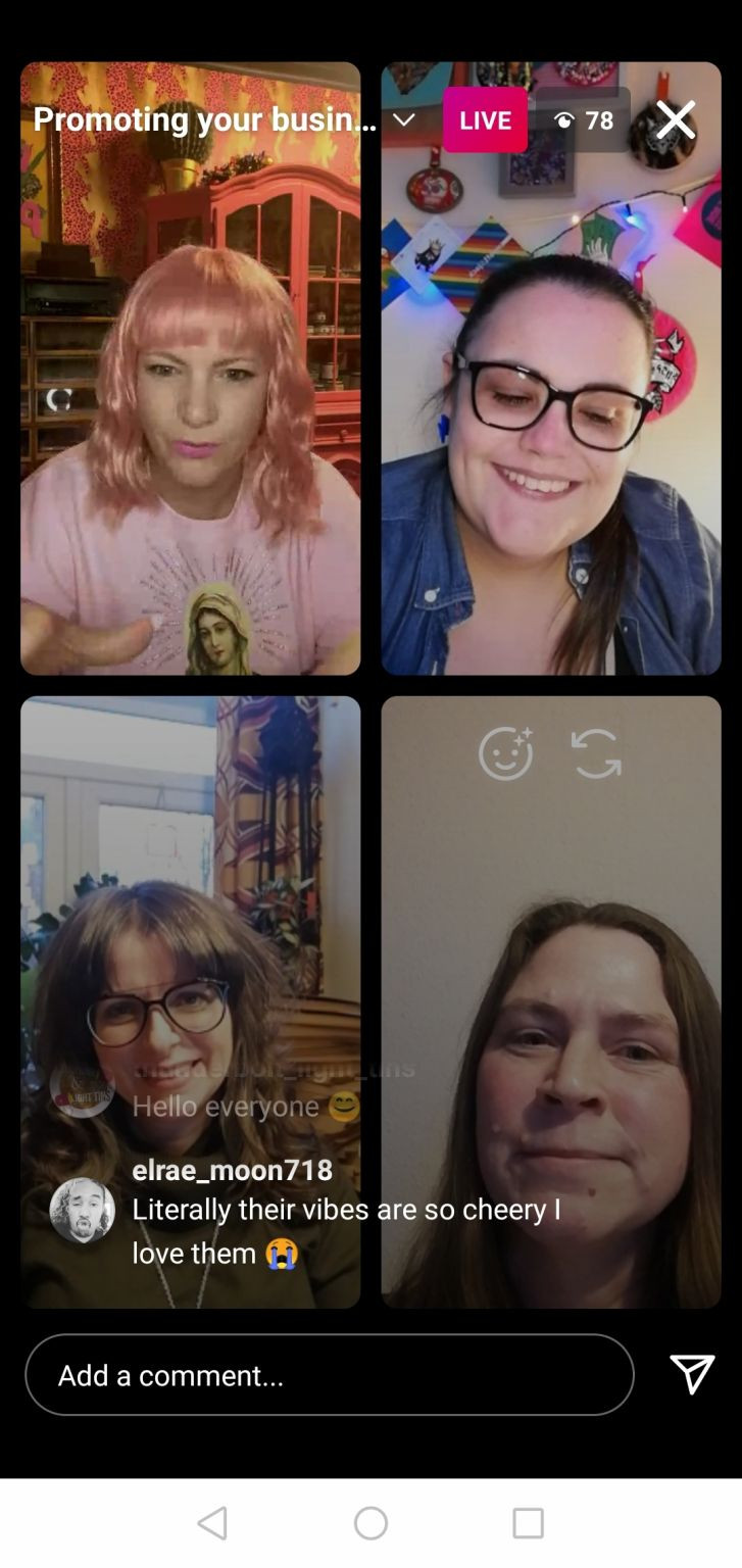4 women each face the screen, divided by box frames. People comment on their social media live stream