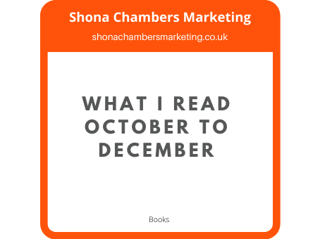 My reading October to December 2020