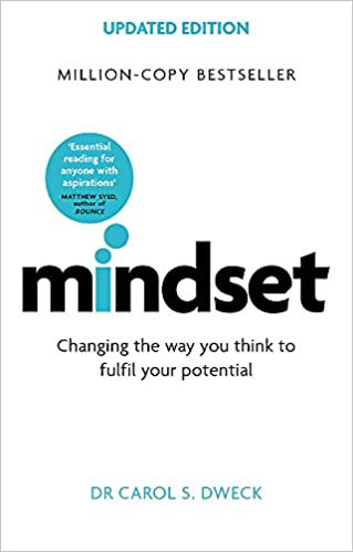 Carol Dwecks book Mindset. This image shows a white book cover with a blue speech bubble coming out of the letter i