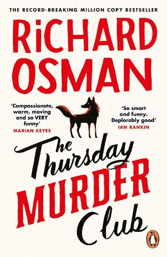A dog stands in the middle of the page with Richard Osman written at the top and The Thursday Murder Club at the bottom