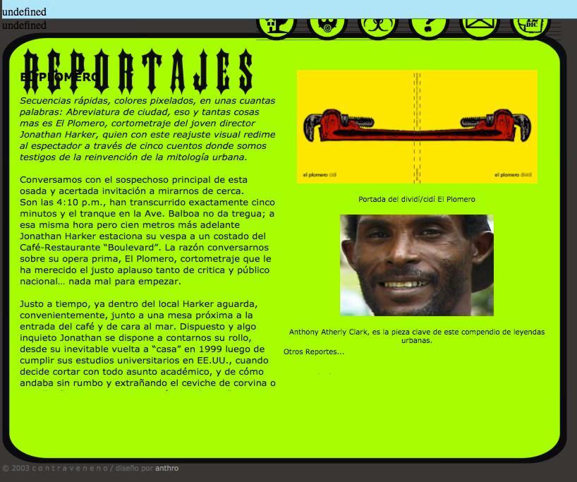 """screenshot del website """"Contraveneno"""""""