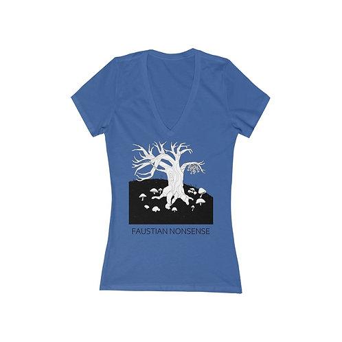 Mistletoe and Mushrooms (Color)   Women's Cut V-Neck T-Shirt