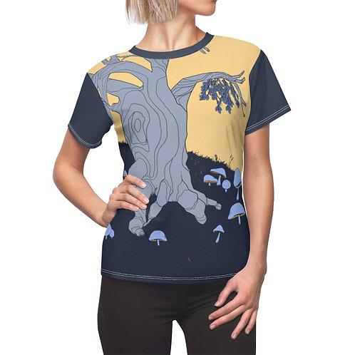 Mistletoe and Mushrooms Full Mural   Women's Cut T-Shirt