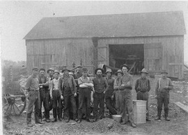 Ira Poor Barn with threashing crew, Child's Rd., circa 1880