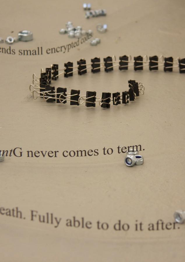 Transparent prints, nuts, paper clips, 2014