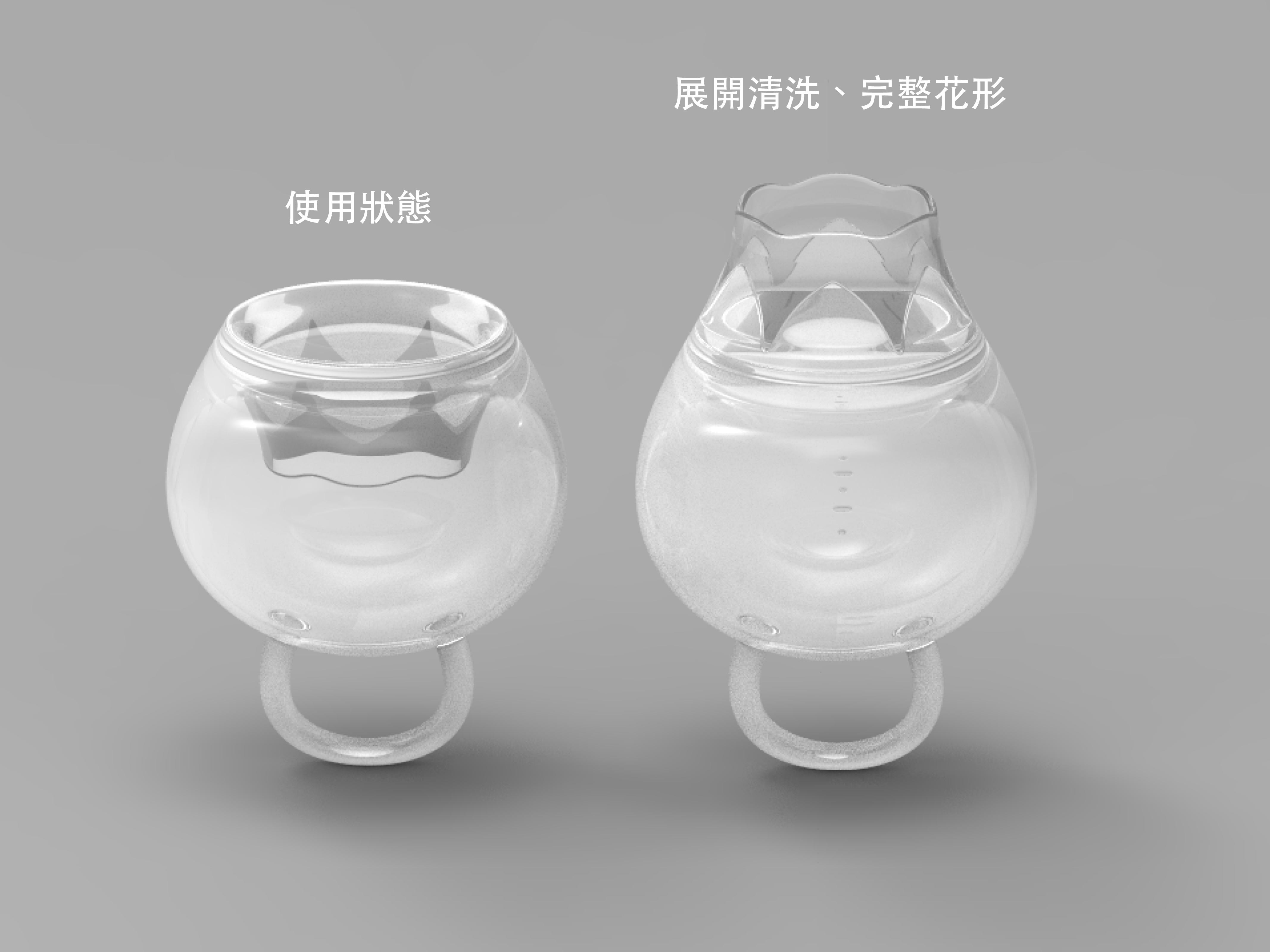杯型設計初稿(專利原型來自技術合作之美國品牌FemmyCycle)