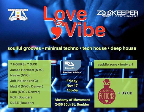 Friday, November 17!  LoveVibe!_Tickets on sale now at Resident Advisor!_With the _zookeeperpresents crew of DJs and producers from New York