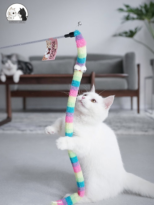 Cat Toy Feather Cat Teaser Wand Cat Interactive Toy Funny Caterpillar Colorful