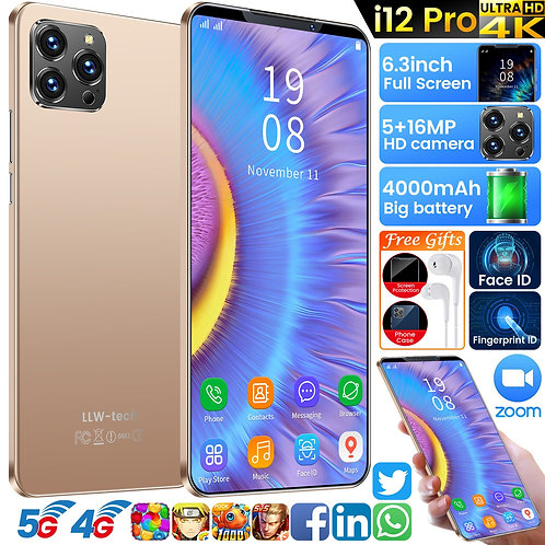 I12 Pro 6GB+128GB Smart Phone 6.3 Inch ID Mobile Phones 5+16MP 10 Core