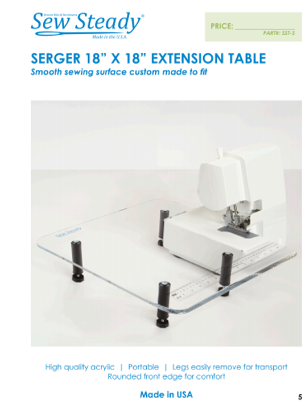 Small Clear Sew Steady Extension Table