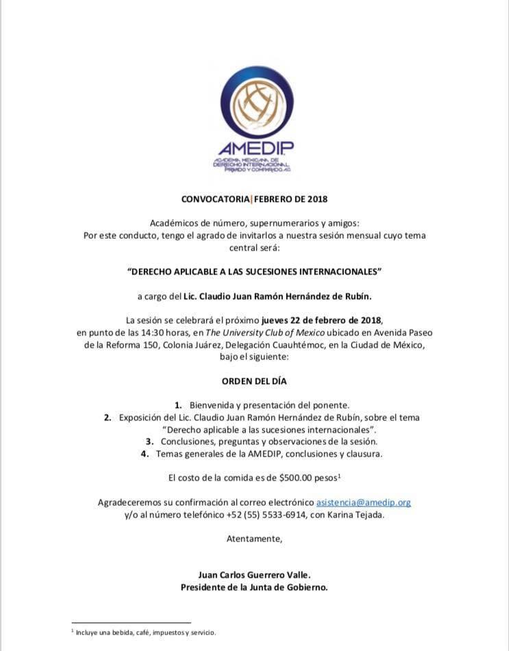 Sesión mensual febrero 2018