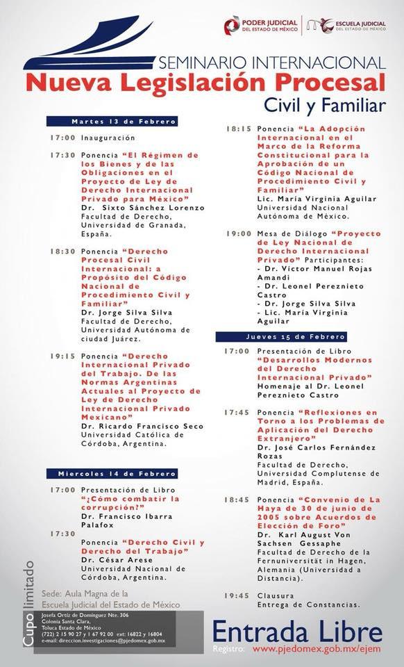 """Seminario Internacional """"Nueva Legislación Procesal Civil y Familiar"""""""