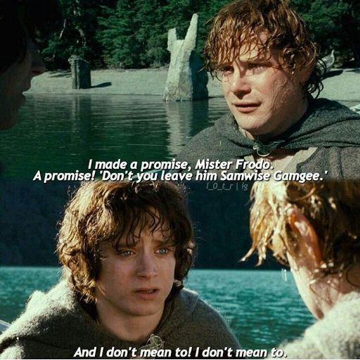 "A screen grab of ""The Lord of the Rings: Fellowship of the Ring"" featuring the quote from Samwise Gamgee: ""I made a promise, Mr. Frodo. A promise! 'Don't you leave him Samwise Gamgee.' And I don't mean to! I don't mean to."""