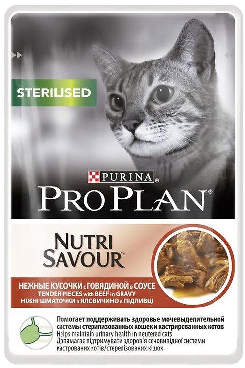 Влажный корм Purina Pro Plan NUTRISAVOUR Sterilised для кошек с говядиной