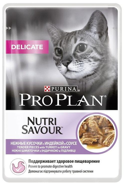 Влажный корм Purina Pro Plan NUTRISAVOUR Delicate для кошек с индейкой