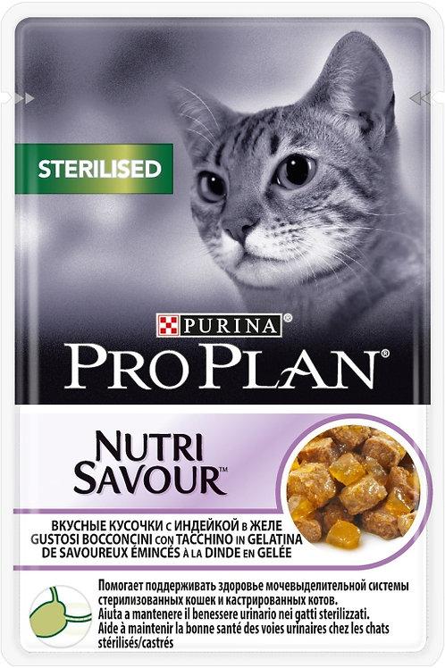 Влажный корм Purina Pro Plan NUTRISAVOUR для стерилизованных кошек индейка