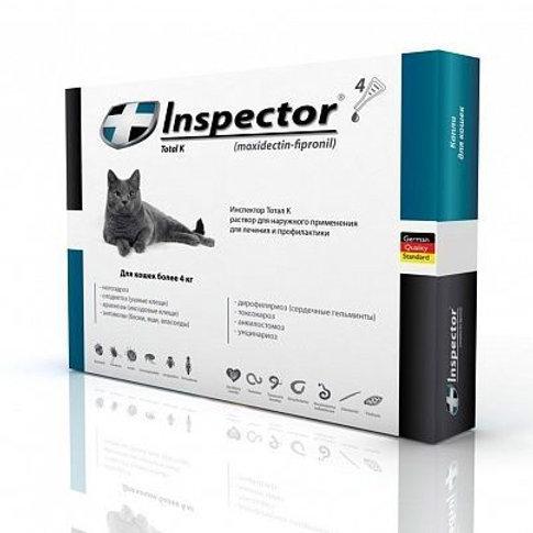 Капли Инспектор для кошек более 4 кг, 1 пипетка, Экопром