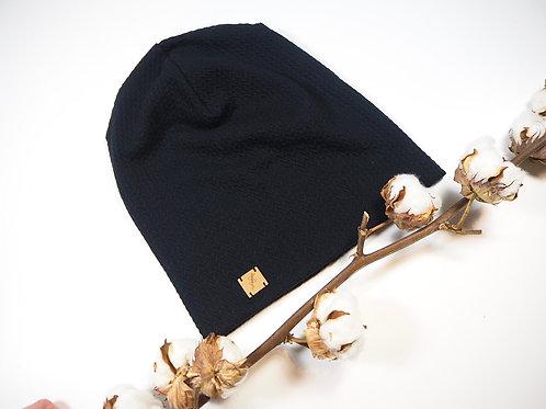 Mütze Beanie GOTS schwarz Strick