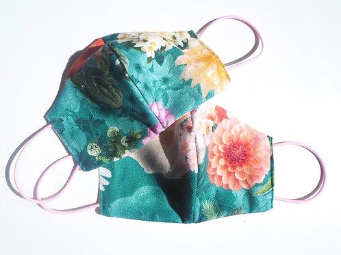 Behelfsmaske Blumen Grün