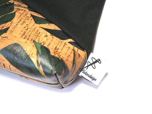 Kulturtasche Grün Kork Blätter