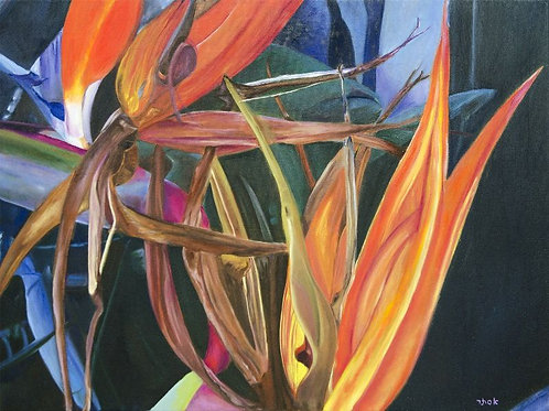 Bird of Paradise Painting- Love in the Fall