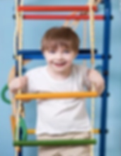 Young boy playing on ladder