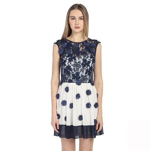 Lacivert Çiçekli Elbise