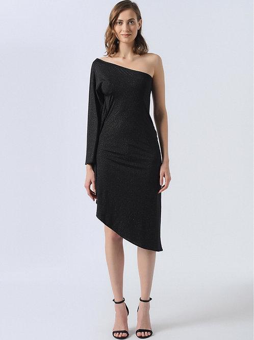 Simli Siyah Tek Kol Elbise