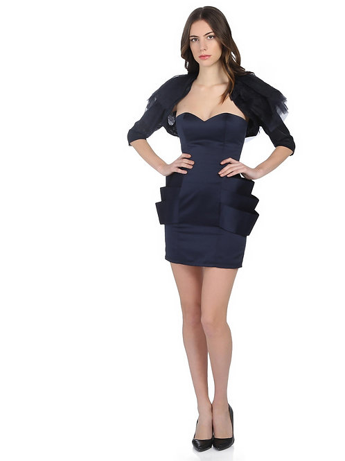 Lacivert Straplez Elbise
