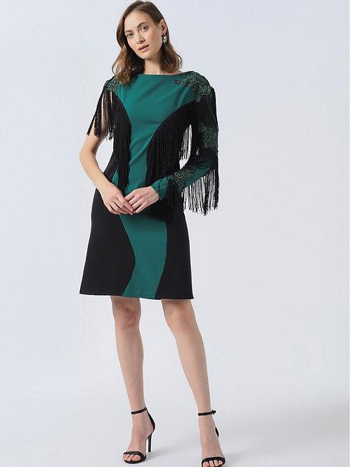 Yeşil Siyah Elbise