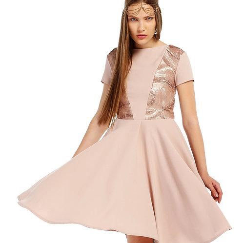 Pudra Krep Payet Elbise