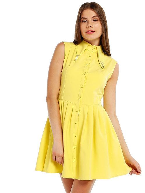Sarı Yakalı Elbise