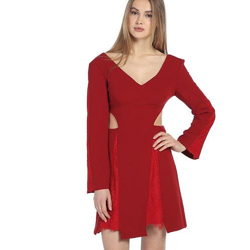 Kırmızı Plise Detaylı Kısa Elbise
