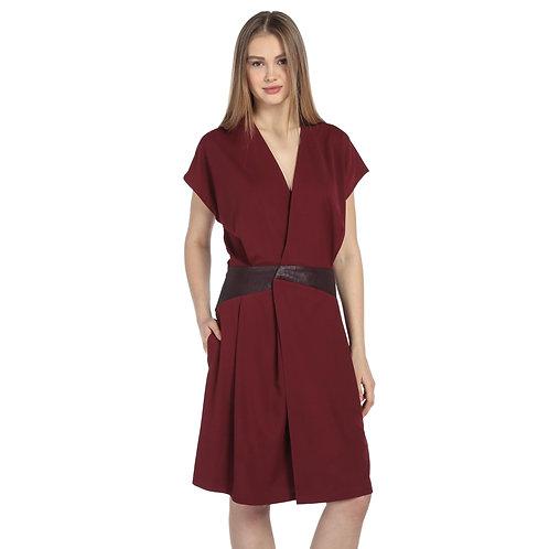 Bordo Deri Detaylı Elbise