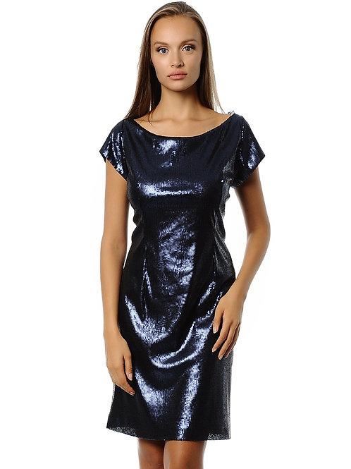 Lacivert Payetli Elbise
