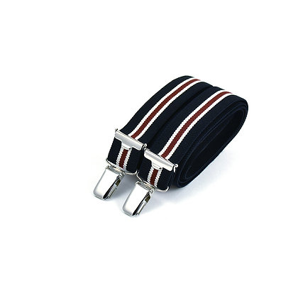 Bretelles fines à pinces - Rayure rouge et navy foncé