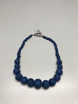 Collier perles bleu