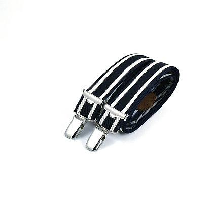 Bretelles fines à pinces - Rayure navy foncé