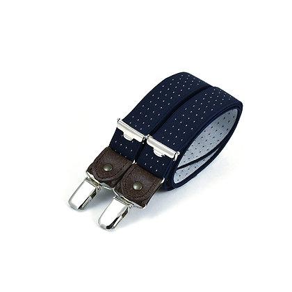 Bretelles fines à pinces et cuir - Bleu marine à pois blancs