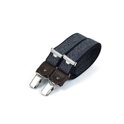 Bretelles fines à pinces et cuir - Chevron bleu marine
