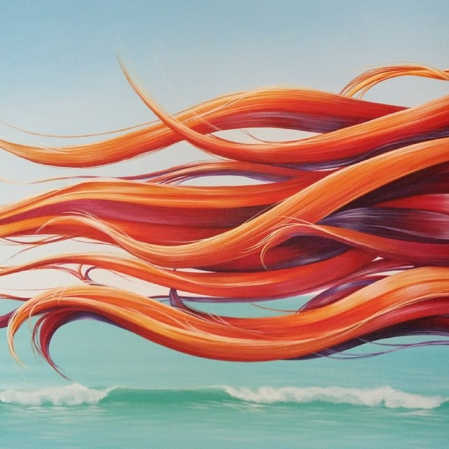 Instagram - Detail from new painting, still in progress #painting #waves #hair