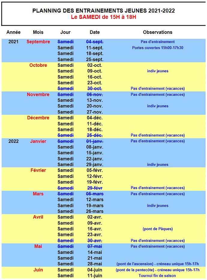Calendrier jeunes 2021-2022