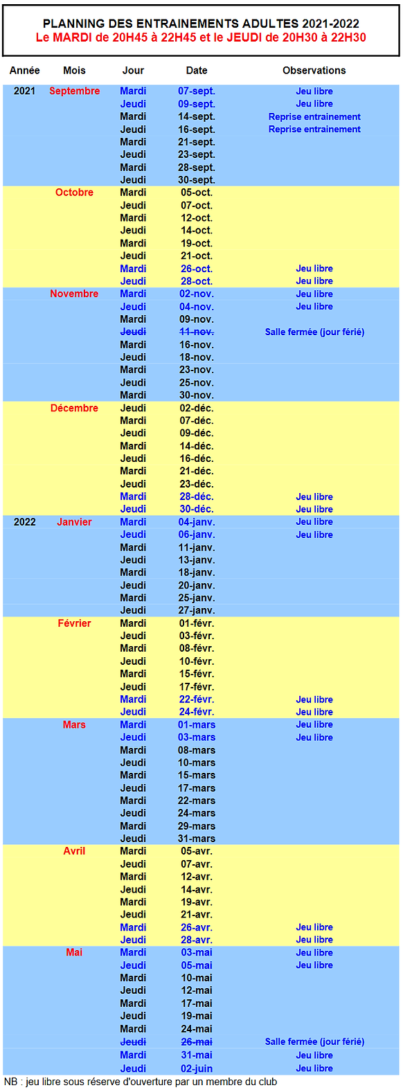 Calendrier adultes 2021-2022